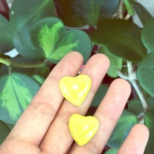 Vintage yellow iridescent clay heart earrings